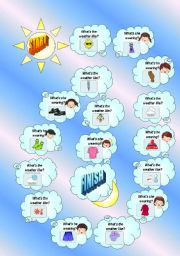 English Worksheet: Clothes and Weather Board Game (B/W Version Included