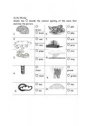 English Worksheets: Long a Words
