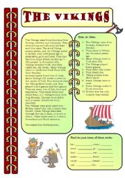English Worksheet: Reading comprehension - The Vikings