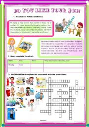 Professions + simple present. Reading comprehension plus vocabulary activity with crossword.