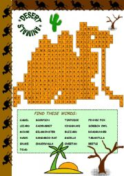 English Worksheets: DESERT ANIMALS