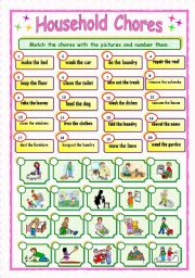 English Worksheets: Household Chores - Matching (3/3)