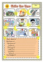 English worksheet: Write the time (daily routines)