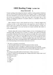 English Worksheets: GRE Reading Comprehension Exercises