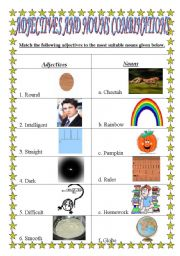 English Worksheets: Match and Get the Correct Combinations of Adjectives and Nouns