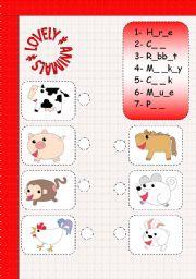 English Worksheets: LOVELY ANIMALS