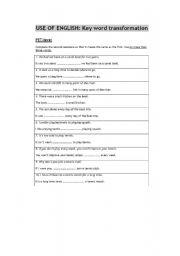 English Worksheet: key word transformation for pet level (B1)