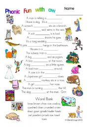 English Worksheets: 3 pages of Phonic Fun with ow: worksheet, story and key (#13)