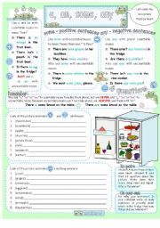 English Worksheet: A, an, some & any with there is/are and countable & uncountable food nouns.