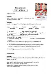 English Worksheets: Love Actually - Analysis and discussion part 1