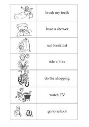 English Worksheet: Everyday activities domino PART 1