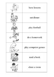 English Worksheets: Everyday activities DOMINO PART 2