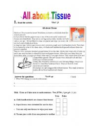 English Worksheets: All About Tissue