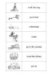 English Worksheet: Everyday activities DOMINO PART 3