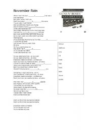 English Worksheet: Song - November rain