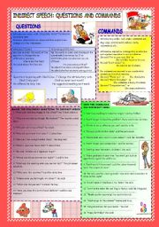 English Worksheet: Indirect Questions and Commands