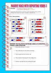 English Worksheet: PASSIVE VOICE WITH REPORTING VERBS + KEY INCLUDED