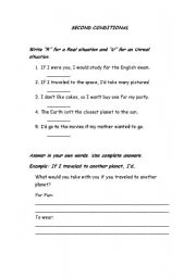 English Worksheet: SECOND CONDITIONAL TEST. UNREAL SITUATIONS