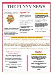 English Worksheet: Funny News issue number 37 conversation,reading and writing prompts