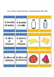 English Worksheet: Speaking Game: Any_Some_Food Quanitity [44-cards] (1/3)