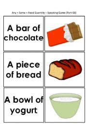 English Worksheets: Speaking Game: Any_Some_Food Quanitity [44-cards] (3/3)