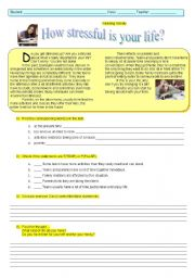 English Worksheets: HOW STRESSFUL IS YOUR LIFE?