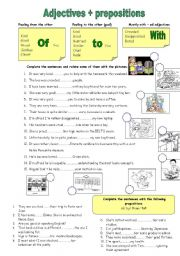 English Worksheet: Adjectives and prepositions