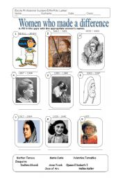 English Worksheet: Women who made the difference!!