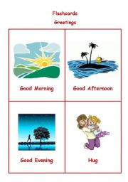 English Worksheets: Greetings - Flashcards