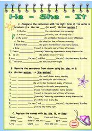 English Worksheet: He, She, It