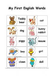English Worksheets: My First English Words - Matching or Memory Game / Concentration Training