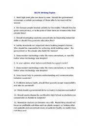 English Worksheets: Writing and discussion IELTS topics