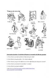 English Worksheet: Daily Actions/ How often/ Adverbs of Frequency/ Conversation Questions