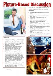 English Worksheet: Picture-Based Discussion (31): Addictions