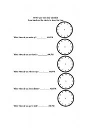English Worksheets: Write your own daily schedule