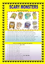 English Worksheets: HAVE GOT: SCARY MONSTERS - FACE PARTS