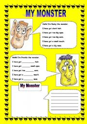 English Worksheet: HAVE GOT: MY MONSTER - FACE PARTS