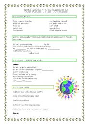 English Worksheets: WE ARE THE WORLD