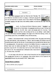 English Worksheet: Community helpers. Reading comprehension test. The storm.