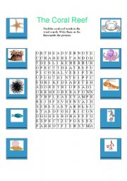 English worksheets: The Coral Reef Word Search