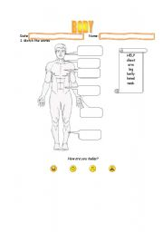 English Worksheets: Vocabulary - Body -  with help