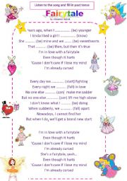 English Worksheet: Fairytale (song for past simple)
