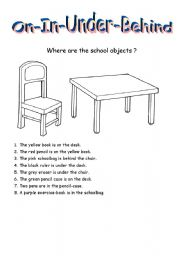 English Worksheet: Prepositions: in-on-under-behind