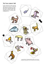 English Worksheets: Farm Animals 12-sided Ball / Dice Game