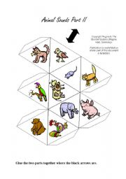 English Worksheets: Animal Sounds 20 Animals Ball / Dice Game Part 2/2