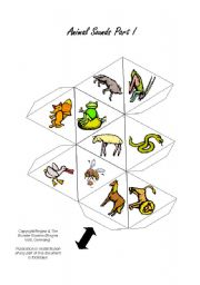 English Worksheets: Animal Sounds 20 Animals Ball / Dice Game Part 1/2
