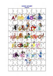 English Worksheets: Disney Alphabet Puzzle