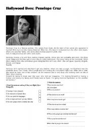 English Worksheets: HOLLIWOOD LIVES: PENELOPE CRUZ