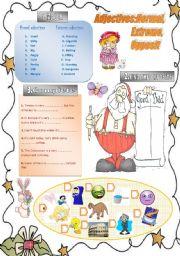English Worksheet: Adjectives:Normal,Extreme,Opposit
