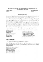 English Worksheets: DAREN�S HOMEOWN